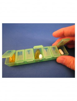 7 Day Green Braille Pill Storage Box - Medication Aids/Medication Cases