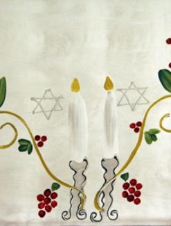Candles and Grapes on Silver Coated Table Cloth, Placemats & Aprons - Daily Aids/Dining & Eating Aids