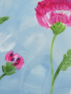 Carnations on Blue Coated Table Cloth, Placemats & Aprons - Daily Aids/Dining & Eating Aids