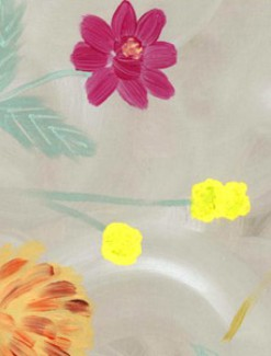 Flower Garden on Light Grey Coated Table Cloth, Placemats & Aprons - Daily Aids/Dining & Eating Aids