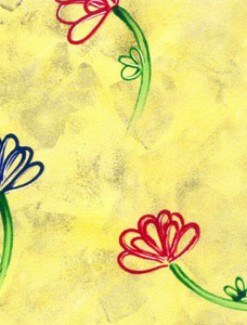 Flowers on Yellow Coated Table Cloth, Placemats & Aprons - Daily Aids/Dining & Eating Aids