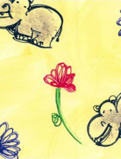 Hippos on Yellow with Flowers Coated Table Cloth, Placemats & Aprons - Daily Aids/Dining & Eating Aids