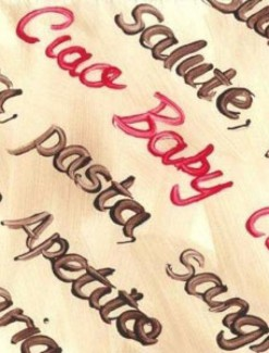 Italian Words Coated Table Cloth, Placemats & Aprons - Daily Aids/Dining & Eating Aids