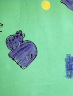 Purple Hippos on Green Coated Table Cloth, Placemats & Aprons - Daily Aids/Dining & Eating Aids