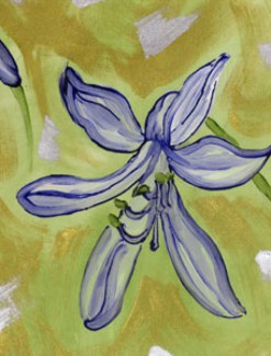 Purple Lily on Green Coated Table Cloth, Placemats & Aprons - Daily Aids/Dining & Eating Aids