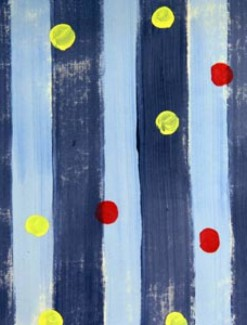 Red and Yellow Dots on Blue Stripe Coated Table Cloth, Placemats & Aprons - Daily Aids/Dining & Eating Aids