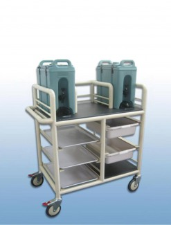 2 x Bay double urn trolley with trays and tubs - Professional/Trolleys/Beverage Trolleys