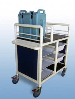 2 x Bay Enclosed single urn trolley with trays and tubs - Professional/Trolleys/Beverage Trolleys