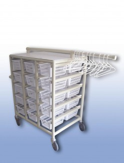 Compact Laundry Valet Trolley - Small Basket (x30) - Professional/Trolleys/Laundry Trolleys