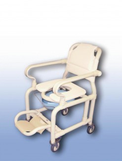 Deluxe mobile shower chair with pan/pan holder - Bathroom Safety/Shower Chairs & Seats