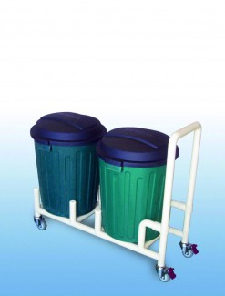 Double 75Litre Bin dolly with handle - Professional/Trolleys/Cleaning Trolleys