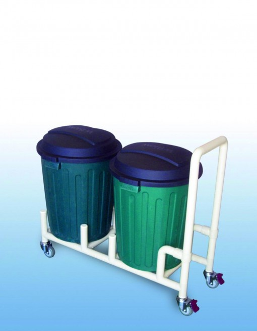 Double 75Litre Bin dolly with handle in Professional/Trolleys/Cleaning Trolleys