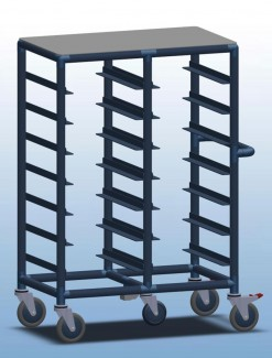 Double Bay 14 x Tray service trolley with solid top - Professional/Trolleys/Food service Trolleys