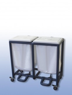 Foot operated laundry skip (double) - Professional/Trolleys/Laundry Trolleys