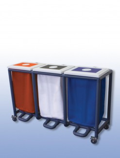 Foot Operated Laundry Skip (Triple) - Professional/Trolleys/Laundry Trolleys