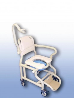 Large deluxe mobile shower chair with pan/panholder - Bathroom Safety/Shower Chairs & Seats