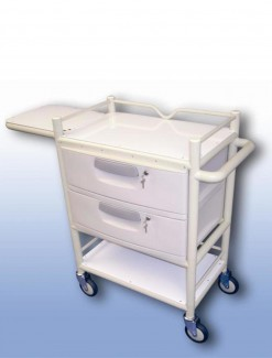 Lockable two drawer trolley (with fold away table) - Professional/Trolleys/Drawer Trolleys