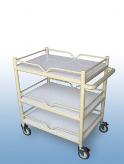 Multi-Purpose Trolley 3 x PVC shelf + 4 x Guard rails - Professional/Trolleys/Multi-use Trolleys