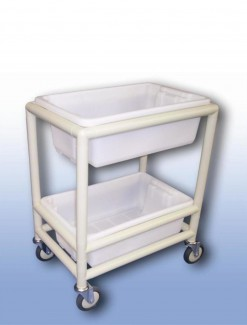 Utility trolley (2 x shelf with containers) - Professional/Trolleys/Cleaning Trolleys