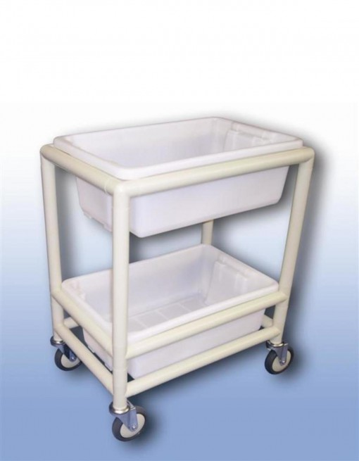 Utility trolley (2 x shelf with containers) in Professional/Trolleys/Cleaning Trolleys